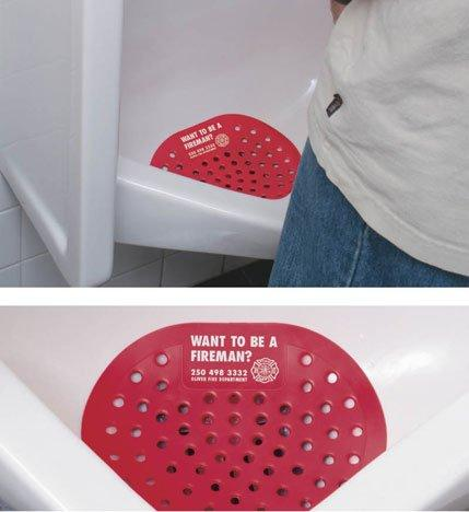 GUERRILLA - Urinal Advertising Fireman