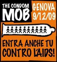 Il primo CONDOM MOB Tutti in un MEGA-PRESERVATIVO contro l'AIDS! Genova