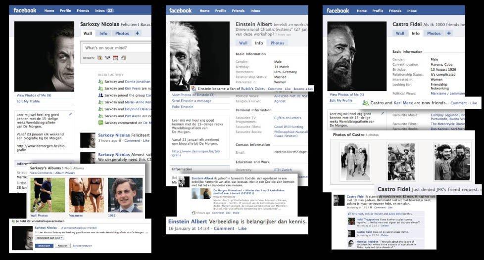 Profili Facebook celebri per promuovere le biografie De Morgen