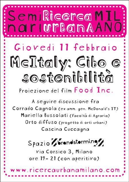 Mc Italy: cibo e sostenibilità a Milano l'11 Febbraio