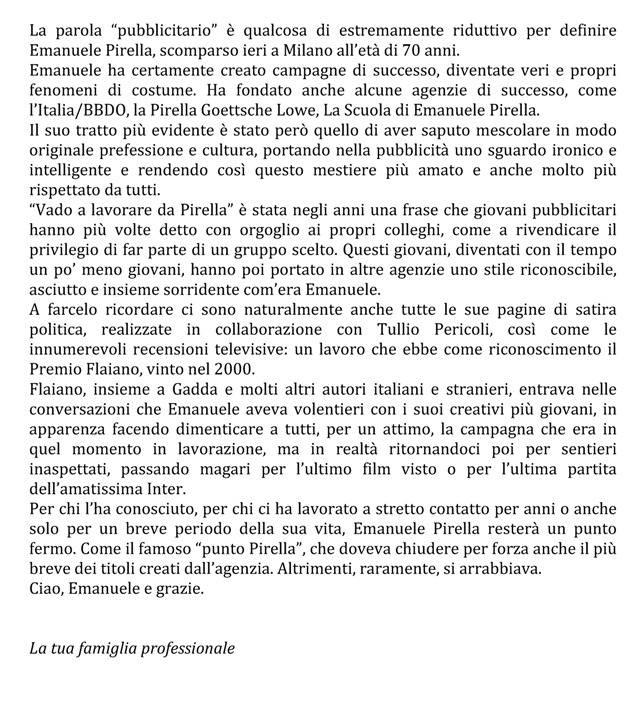 Un saluto a Emanuele Pirella