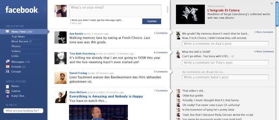 Facebook: una proposta di rinnovamento del design