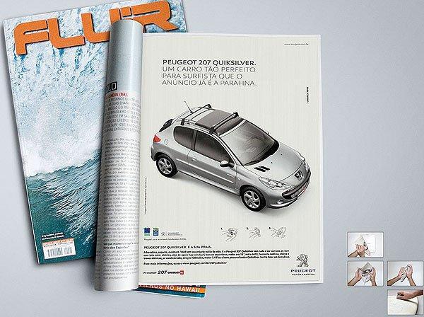 Peugeot pensa ai surfisti con l'annuncio in paraffina