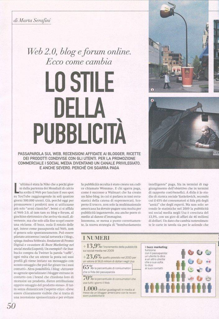 Lo stile della pubblicità – Giordano e Pallera su Sette del Corriere