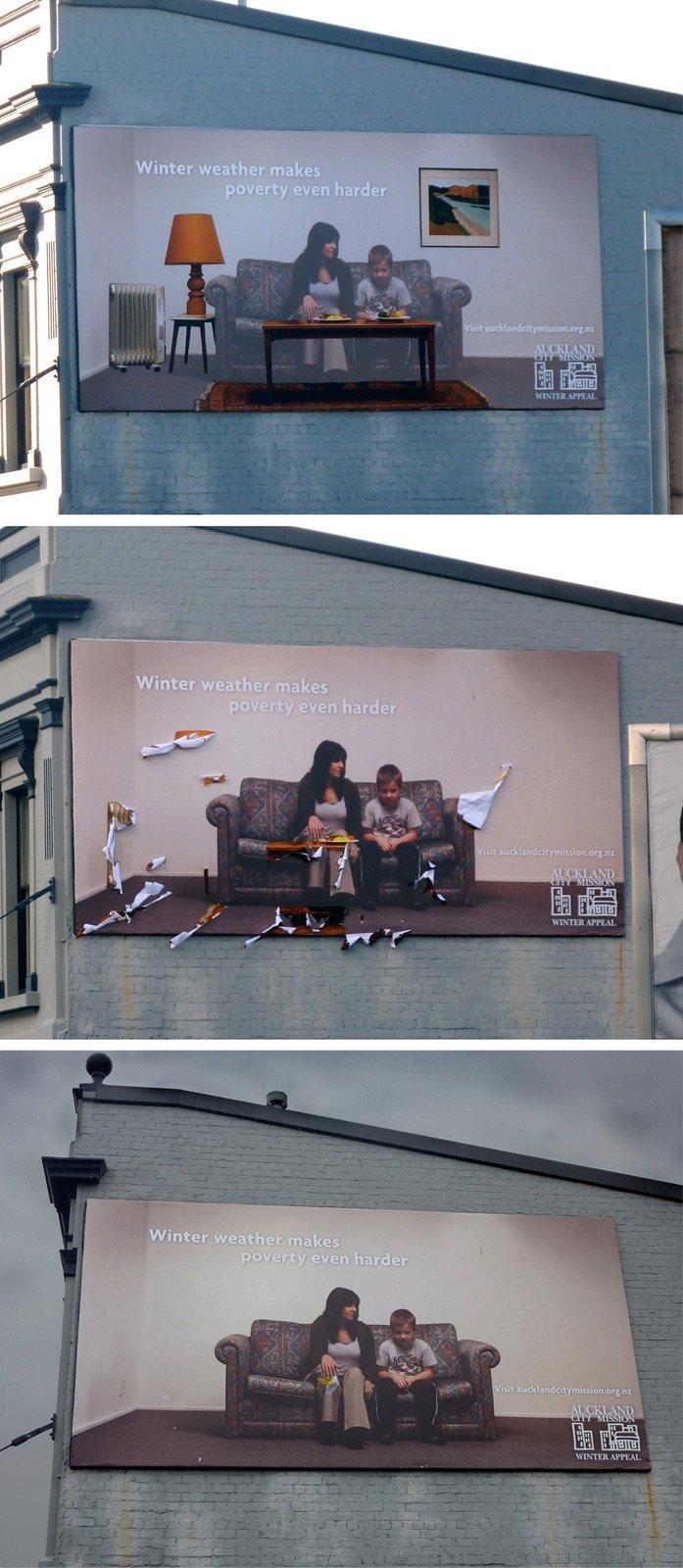 Nuova Zelanda: un billboard meteo-sensibile a favore dei poveri