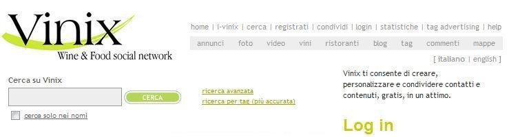 Snapshot dell'homepage di Vinix