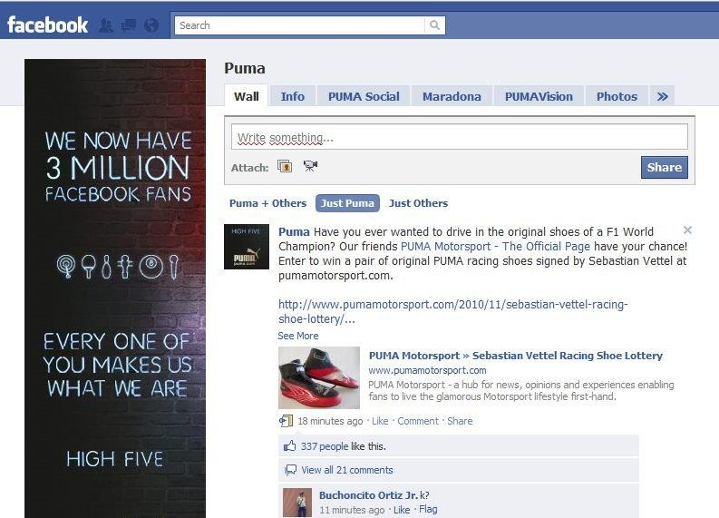 Pagina di Puma su Facebook