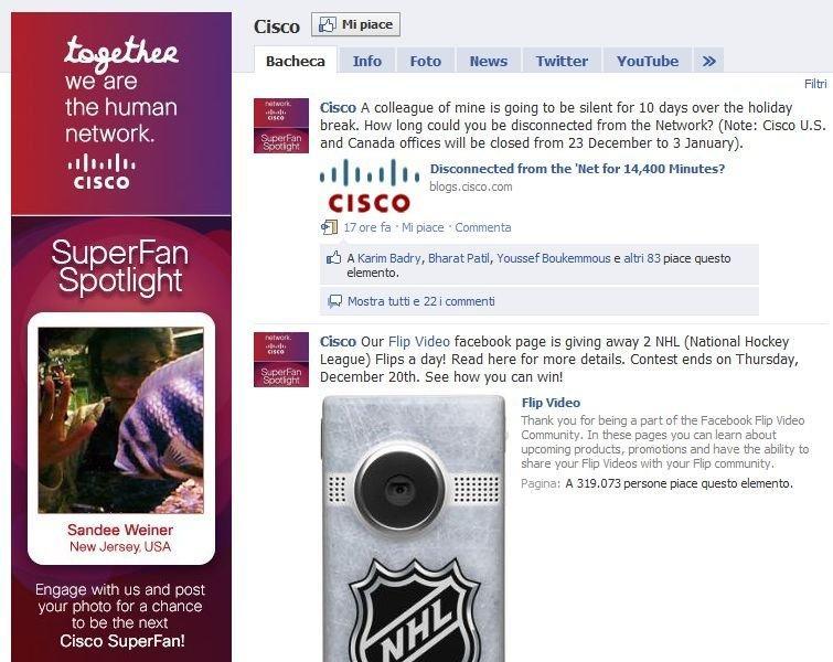 Pagina Facebook di Cisco
