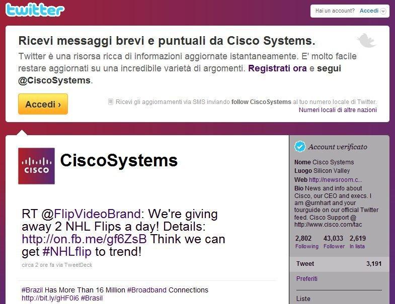 Pagina Twitter di Cisco