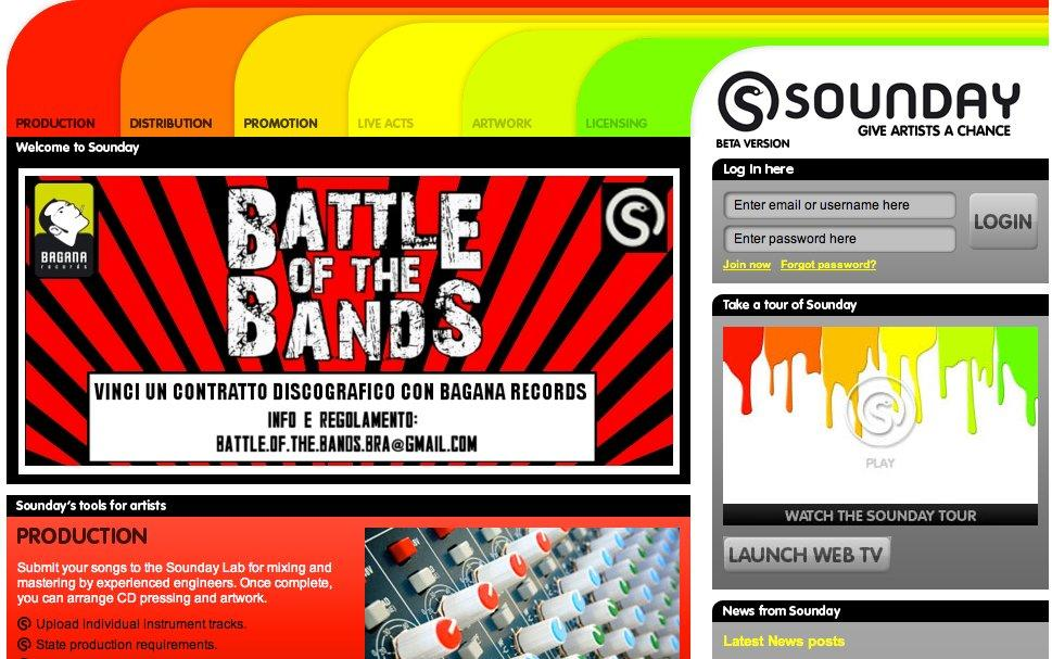 L'home page di Sounday