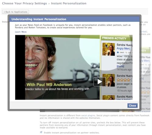 Personalizzazione istantanea di Facebook: Privacy Alert!