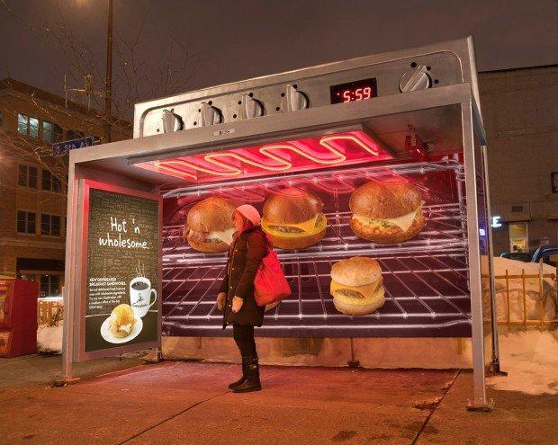 Caribou Coffee trasforma le fermate degli autobus in forni riscaldati! [AMBIENT MARKETING]
