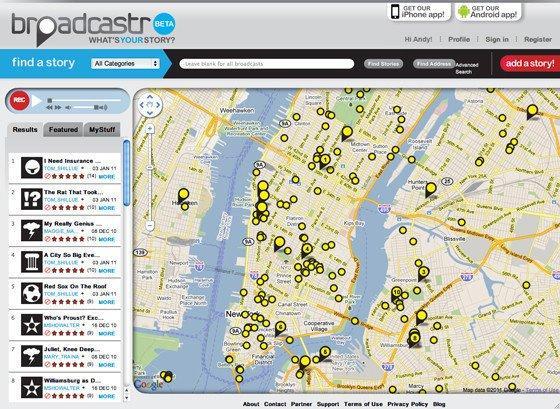 Broadcastr: il social network vocale con storie geolocalizzate