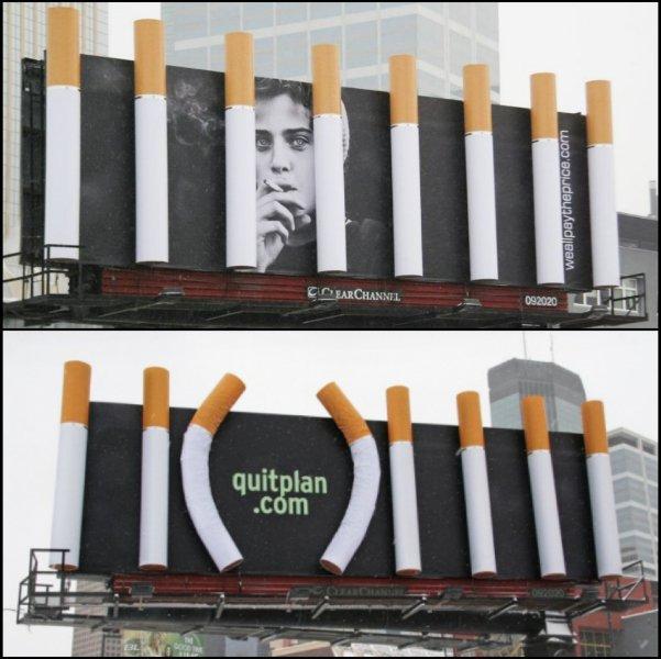 Sigarette giganti per la campagna di sensibilizzazione contro il fumo [AMBIENT]