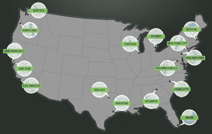Le 15 città USA di EveryBlock