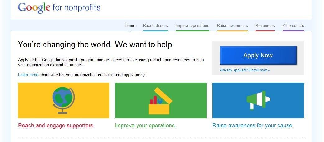 Homepage di Google for Nonprofits