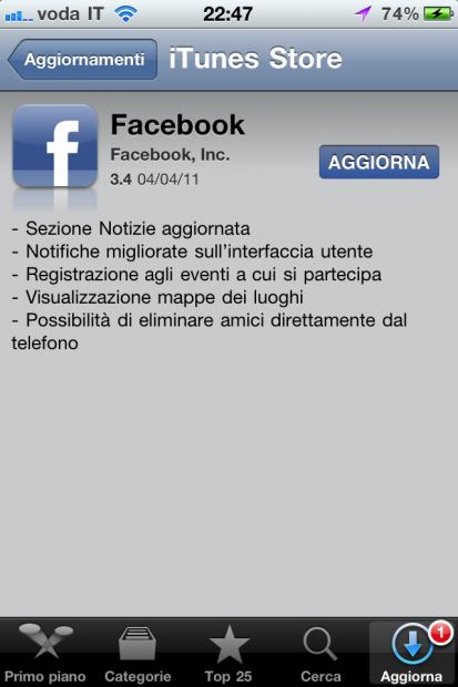 Le novità di Facebook 3.4 iPhone: check-in agli eventi e altro ancora