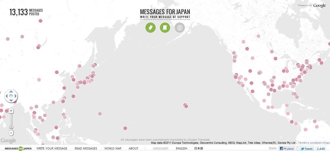 La mappa mondiale su cui 'cadono' i messaggi