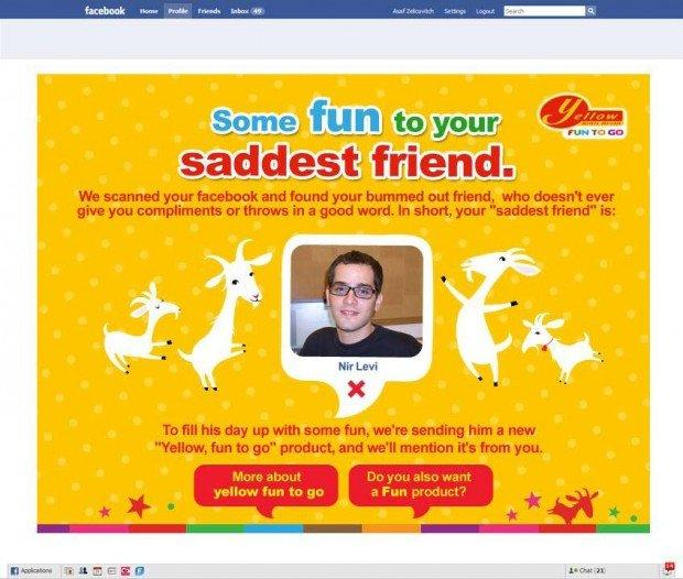 Yellow e McCann Erickson regalano un coupon all'amico più triste su Facebook