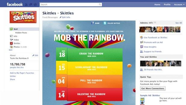 Una campagna Facebook di successo: Skittles, Mob the rainbow