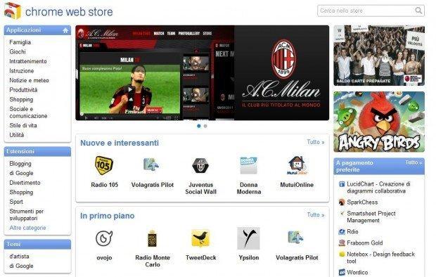 Il Web Store di Chrome arriva in Italia