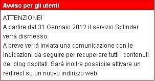 Splinder chiuderà il 31 Gennaio 2012 [BREAKING NEWS]