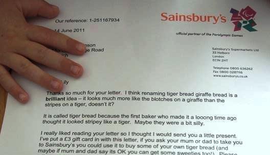 Sainsbury's, la dolce risposta alla letterina della piccola cliente