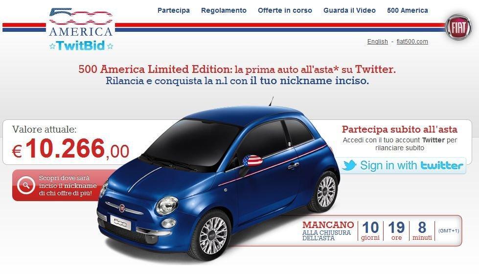TwitBid, l'asta per la FIAT 500 America è su Twitter
