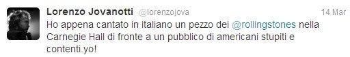 Tweet di Jovanotti in tournèe