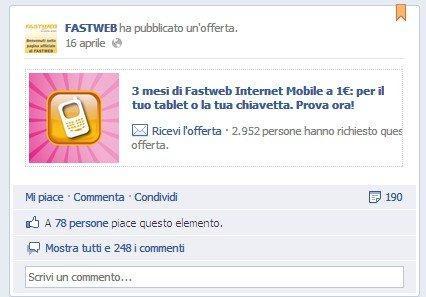 Opportunità e Minacce delle Facebook Offers: ecco Fastweb