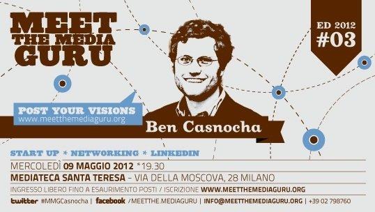 Meet the Media Guru: Ben Casnocha a Milano, Napoli e Salerno il 9 e 11 Maggio