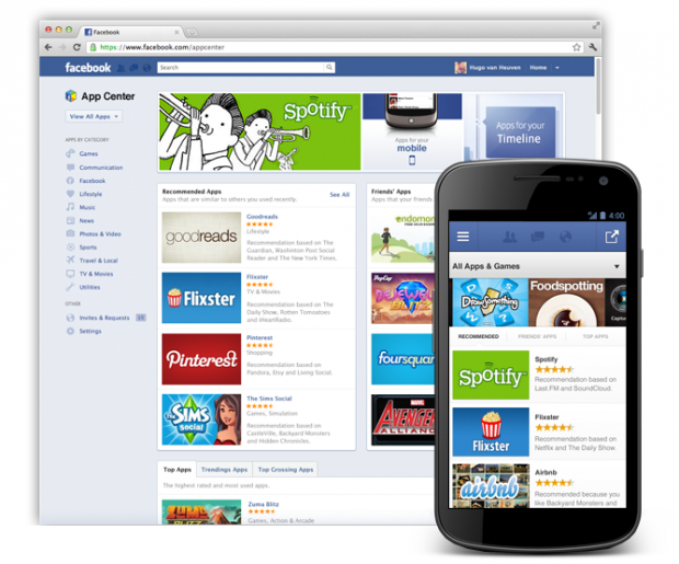 "Facebook lancia ""App Center"", disponibile a breve anche per iOS e Android"
