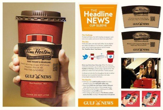 Caffè e giornale? Ecco la versione social nel packaging di Tim Hortons