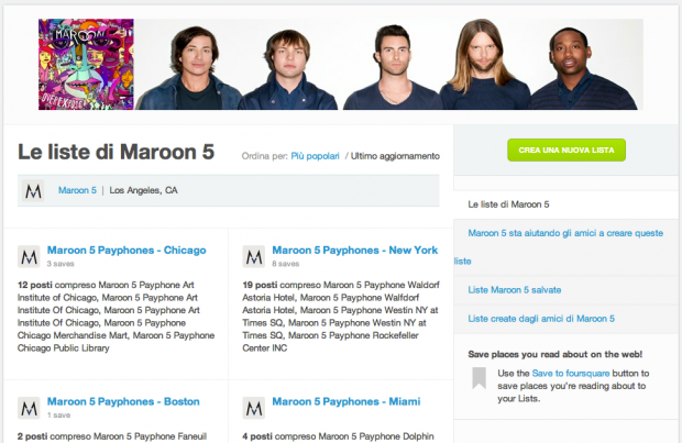 Maroon 5 ed il marketing discografico su Foursquare