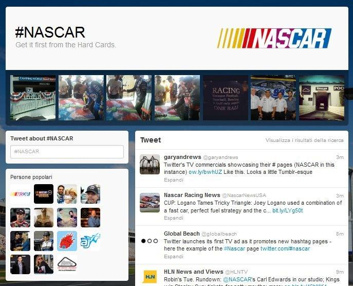 Twitter lancia le hashtag page