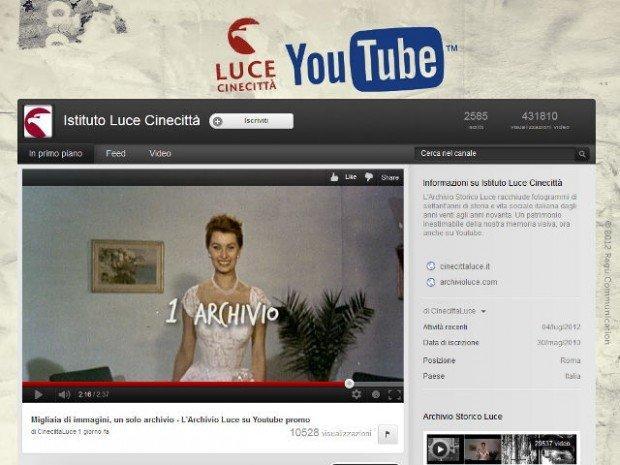 Istituto Luce e YouTube sulla Storia d'Italia