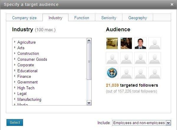Targeted status update Linkedin: gli insights