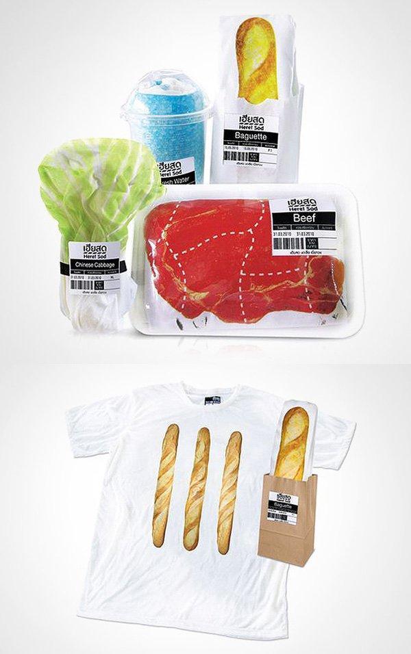 t-shirt confezionate come gli alimenti