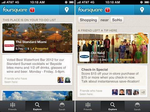 Foursquare: dal 10 Settembre promoted update per tutti!