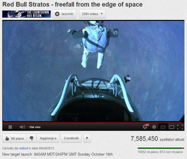 Record su Youtube per il volo di Felix Baumgartner