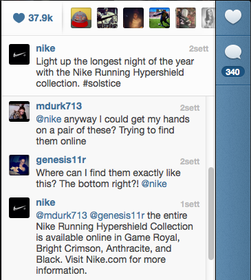 Commenti sul profilo Instagram di Nike