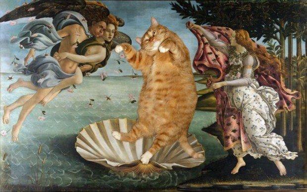 Un gatto al museo: opere d'arte famose riviste da Fatcatart.ru