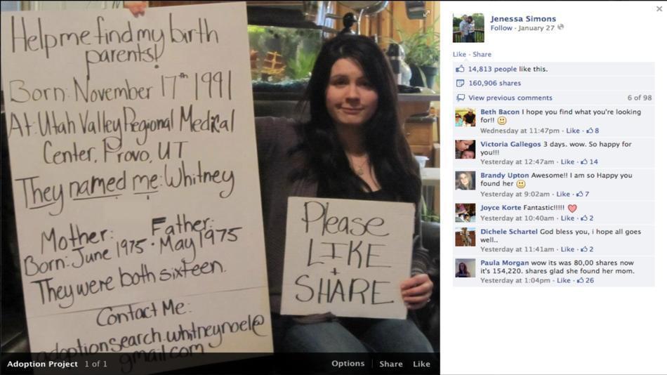 Ritrovare i genitori biologici su Facebook è possibile
