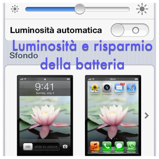 iPhone: luminosità e risparmio della batteria
