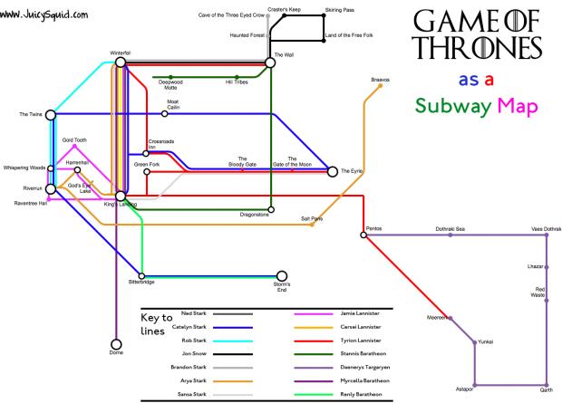 Game of Thrones diventa una mappa della metropolitana