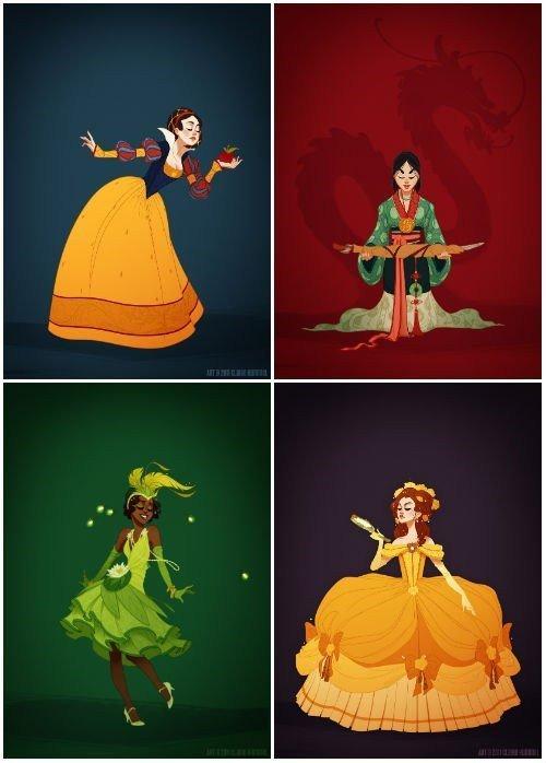 Gli outfit delle principesse Disney: come sarebbero stati nella realtà?