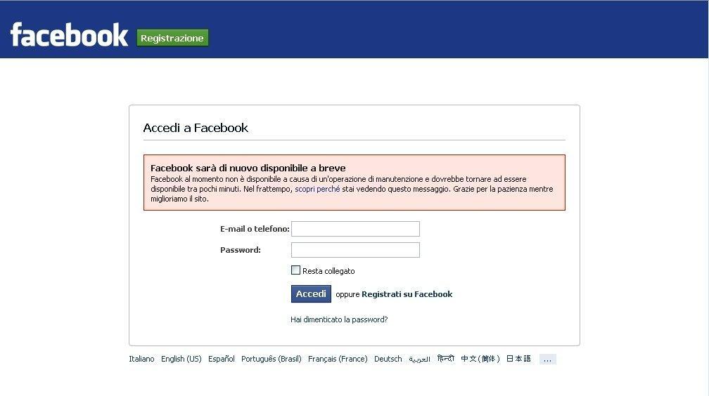 Facebook è andato giù, disagi un po' ovunque (e anche io no, non sto molto bene)