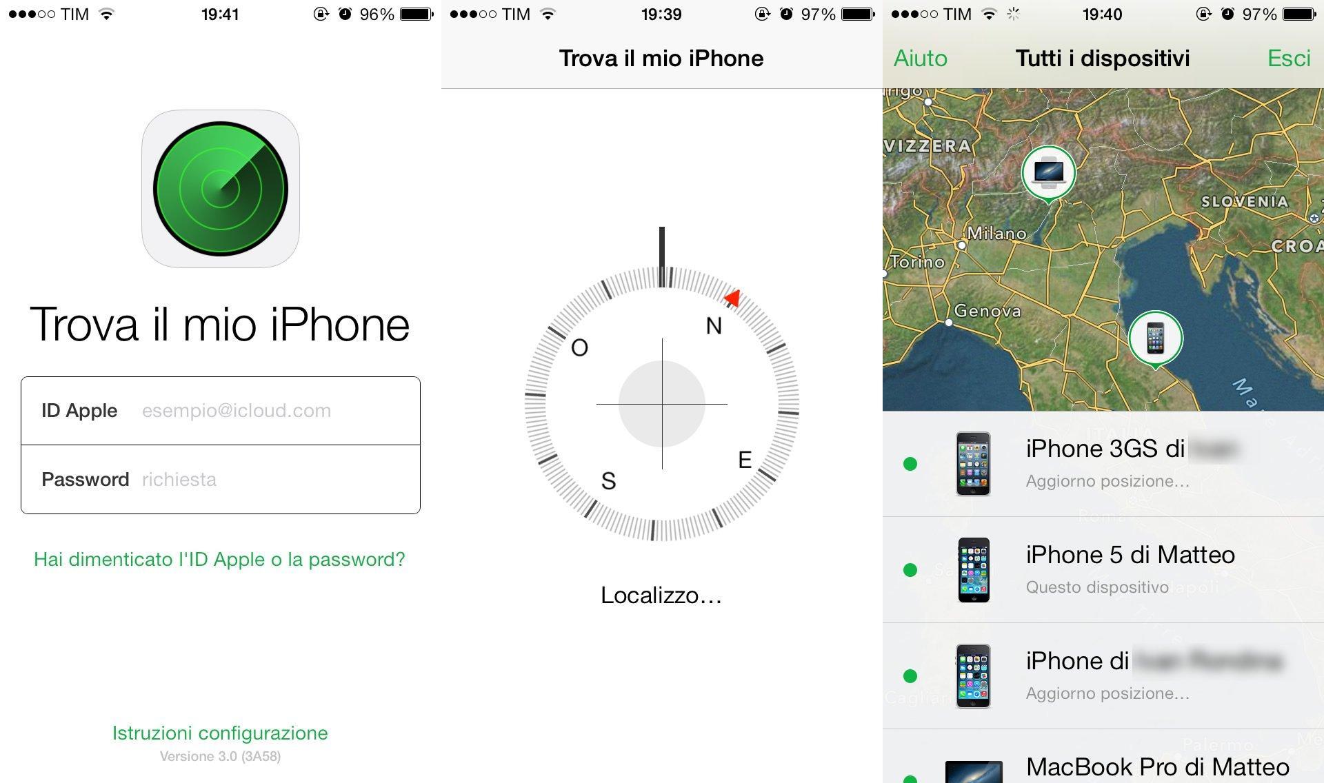 Trova il mio iPhone: schermata iniziale