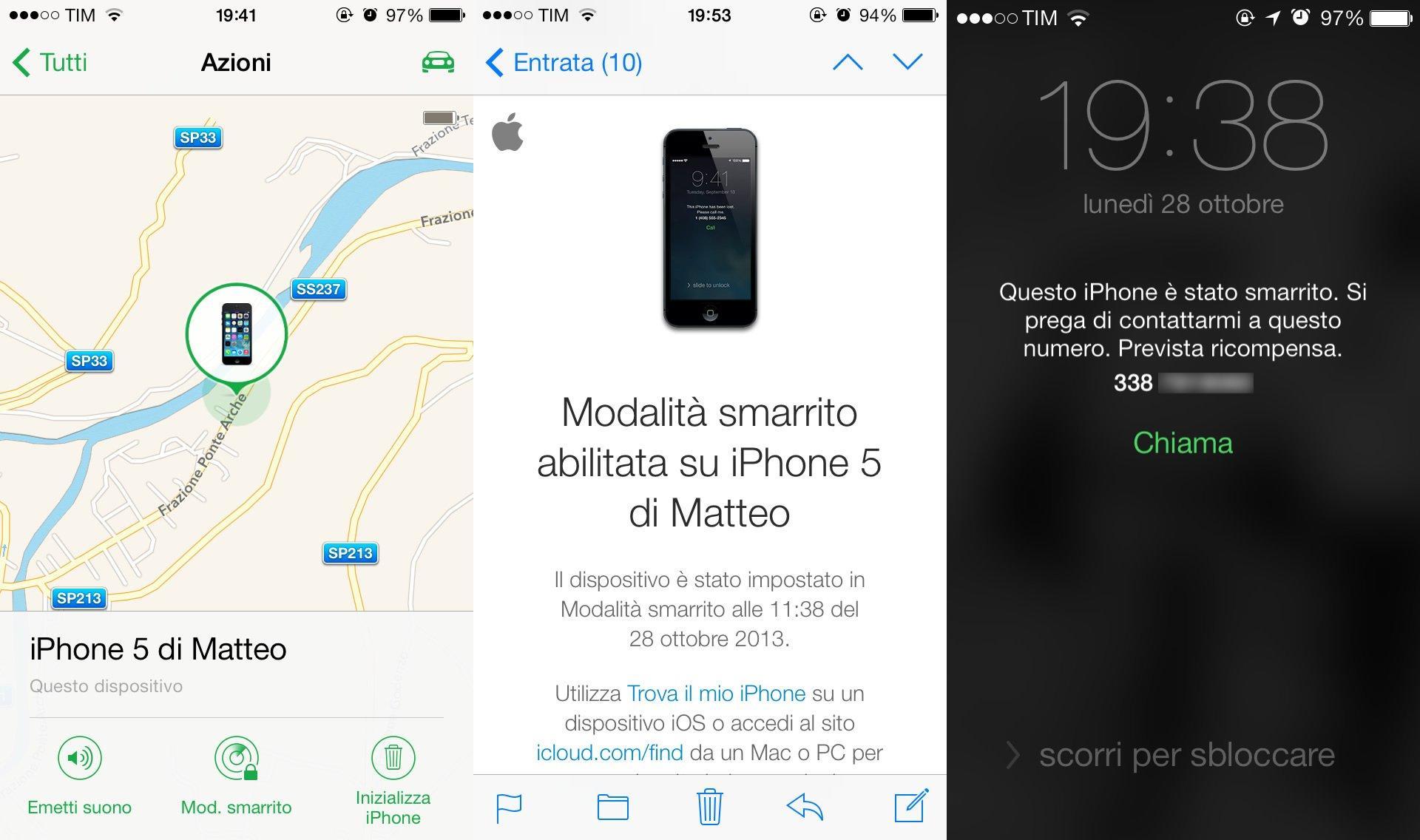 App Trova il mio iPhone: Modalità smarrto