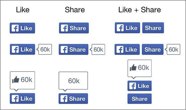 Nuovi pulsanti social Facebook